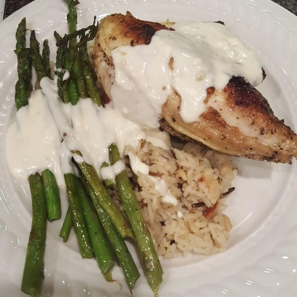 Garlic Cream Sauce over Chicken Breasts