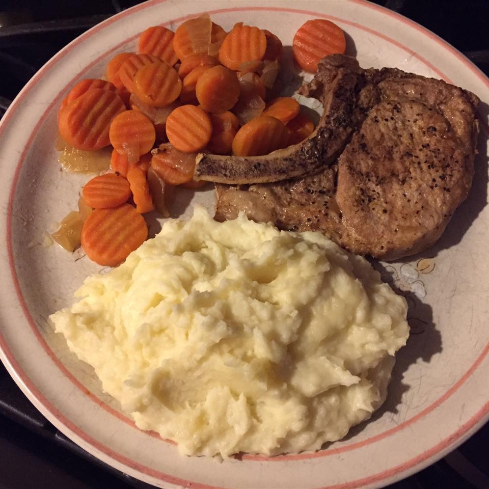 Pressure Cooker Bone-In Pork Chops, Baked Potatoes, and Carrots Lisa Gifford Morejon