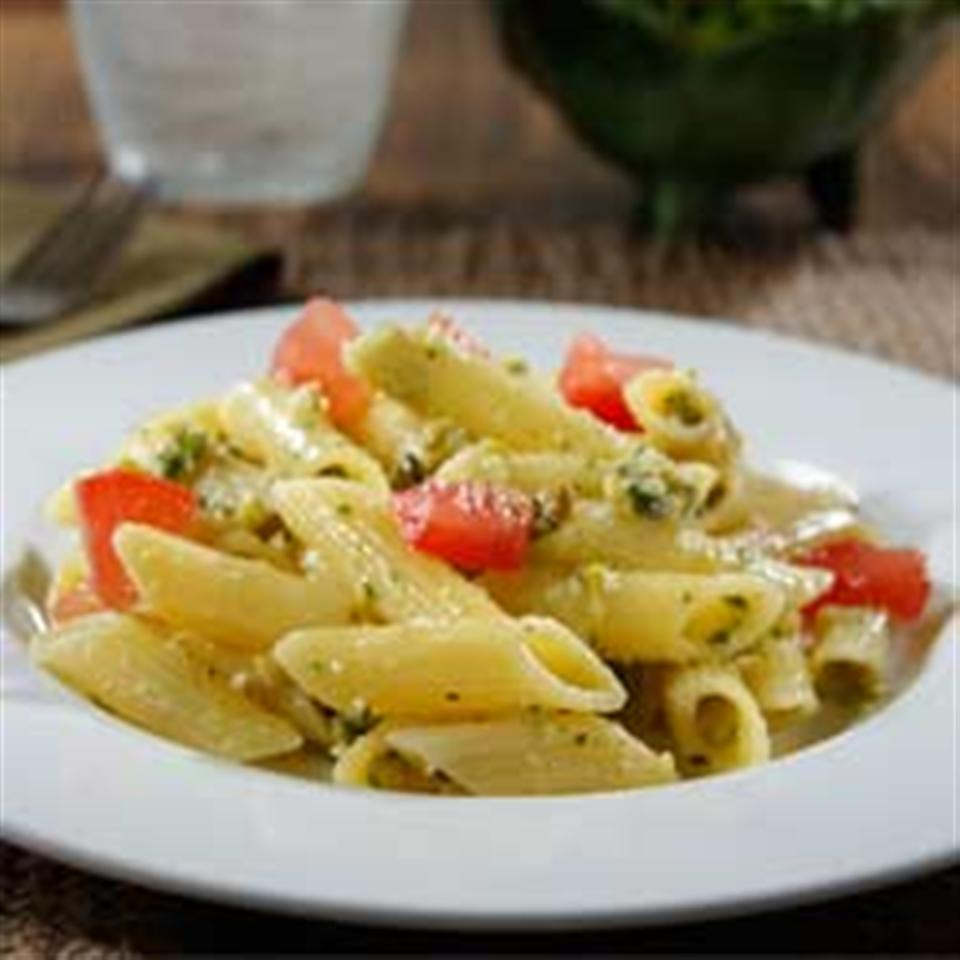 Gluten Free Penne with Pistachio Pesto and Heirloom Tomato Salad Allrecipes Trusted Brands