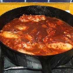 Chicken with Red Chile Sauce and Sausage (Pollo con Salsa Rojo y Chorizo) MexicoKaren
