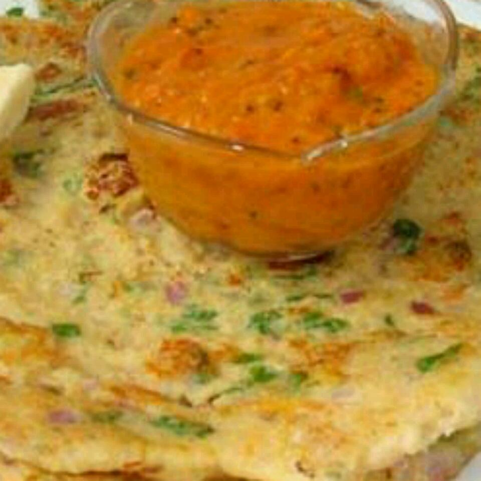 """""""Ada is a type of dosa (crepe) usually served at breakfast,"""" says SUSMITA. """"It is made with a mixture of lentils and rice, and is quite filling. It is typically eaten with podi (south Indian spicy chutney powder) and mango pickle (avakkai). Since the batter is made with raw lentils, it gets fermented easily. It will keep in the refrigerator for 1 or 2 days maximum."""""""