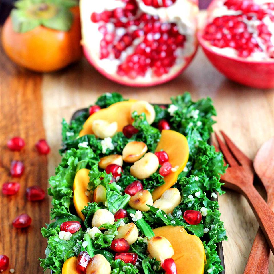 Persimmon, Pomegranate, and Massaged Kale Salad