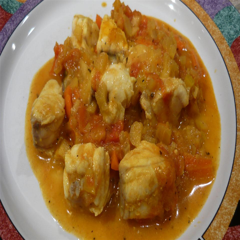 """The tomatoes, carrots, apple, and onion marry with the monkfish, ginger, turmeric, cumin, basil, and cinnamon to deliver a well-balanced and delicate culinary experience,"" says Fabienne Riesen. ""Serve over rice, with mashed potatoes, or with fingerling potatoes. Your guests will be asking for more!"""