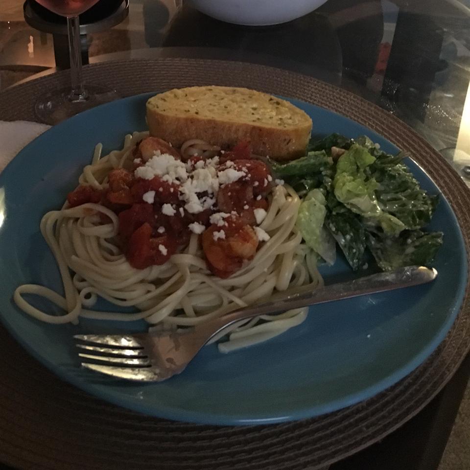 Fire Roasted Tomato and Feta Pasta with Shrimp Linda