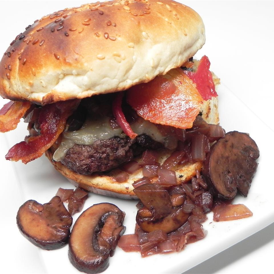 Gourmet Bacon, Onion, and Mushroom Burgers
