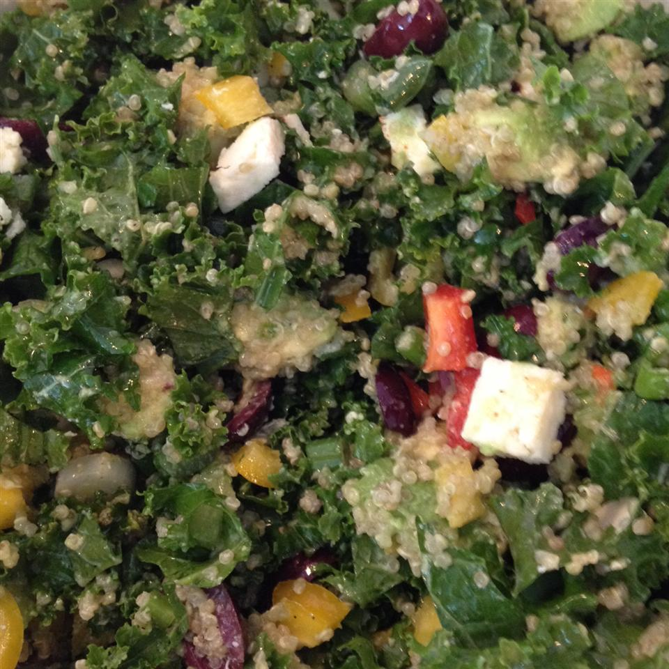 Kale, Quinoa, and Avocado Salad with Lemon Dijon Vinaigrette pamkauppila