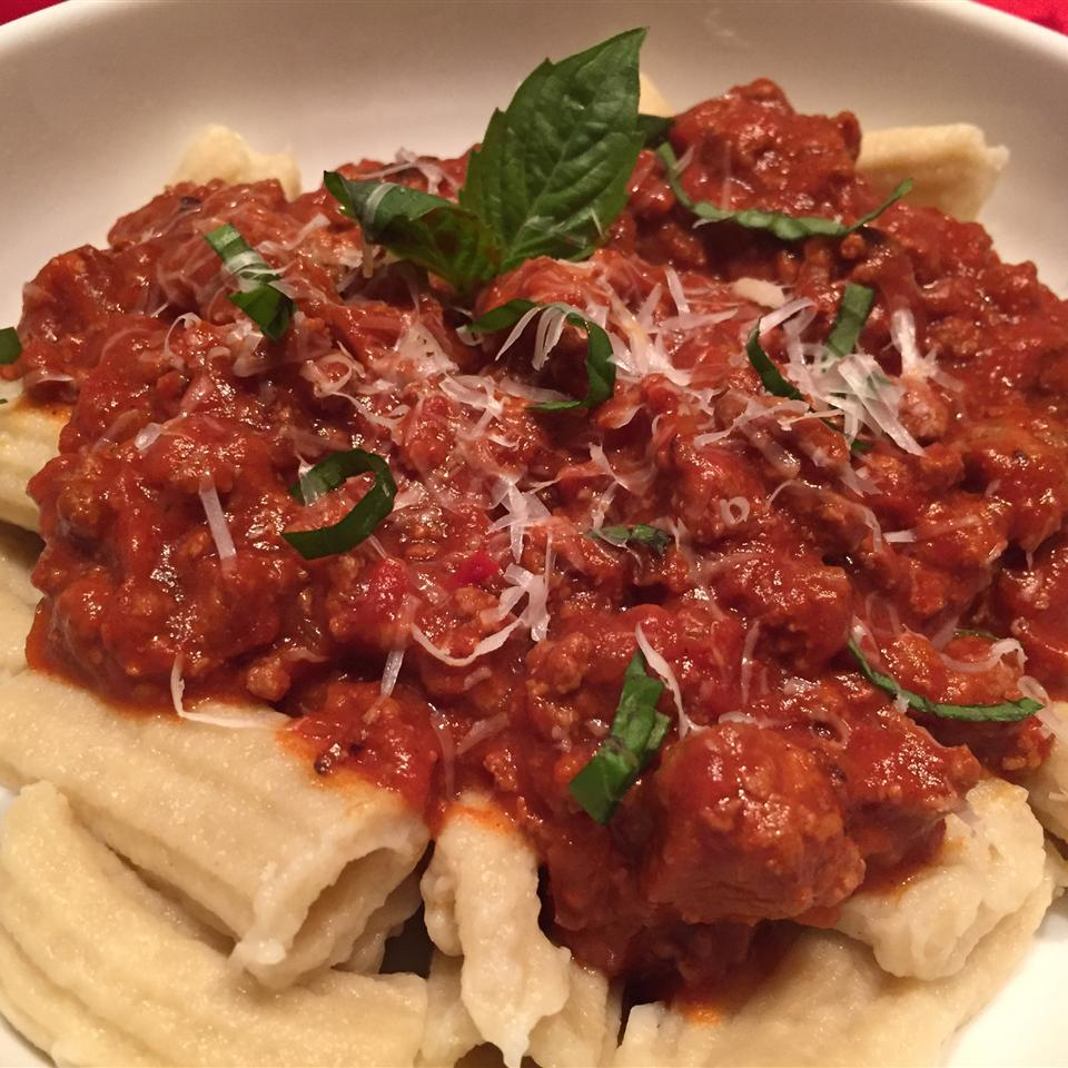 "Worcestershire sauce and harissa give this meat sauce a unique spicy, tangy flavor. ""This special Bolognese is wonderful to top any kind of pasta, not just the traditional spaghetti,"" says Asherat. ""The mascarpone gives an incredibly creamy turn to the sauce.""                           You might also like:"
