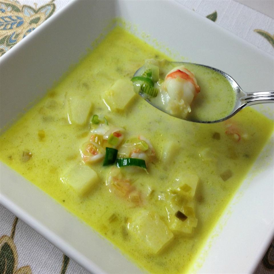 Leek and Potato Soup with Shrimp