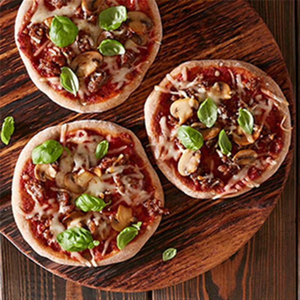 Sausage and Mushroom Mini Pizzas