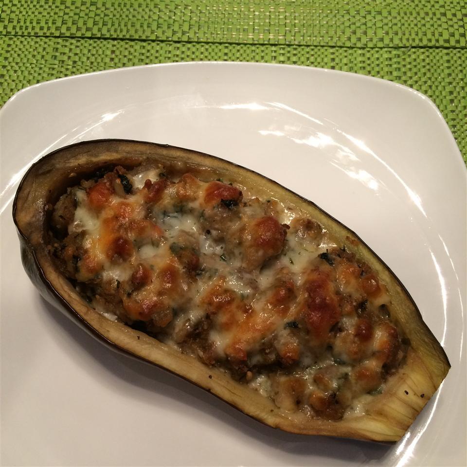 Stuffed Eggplant with Shrimp and Basil