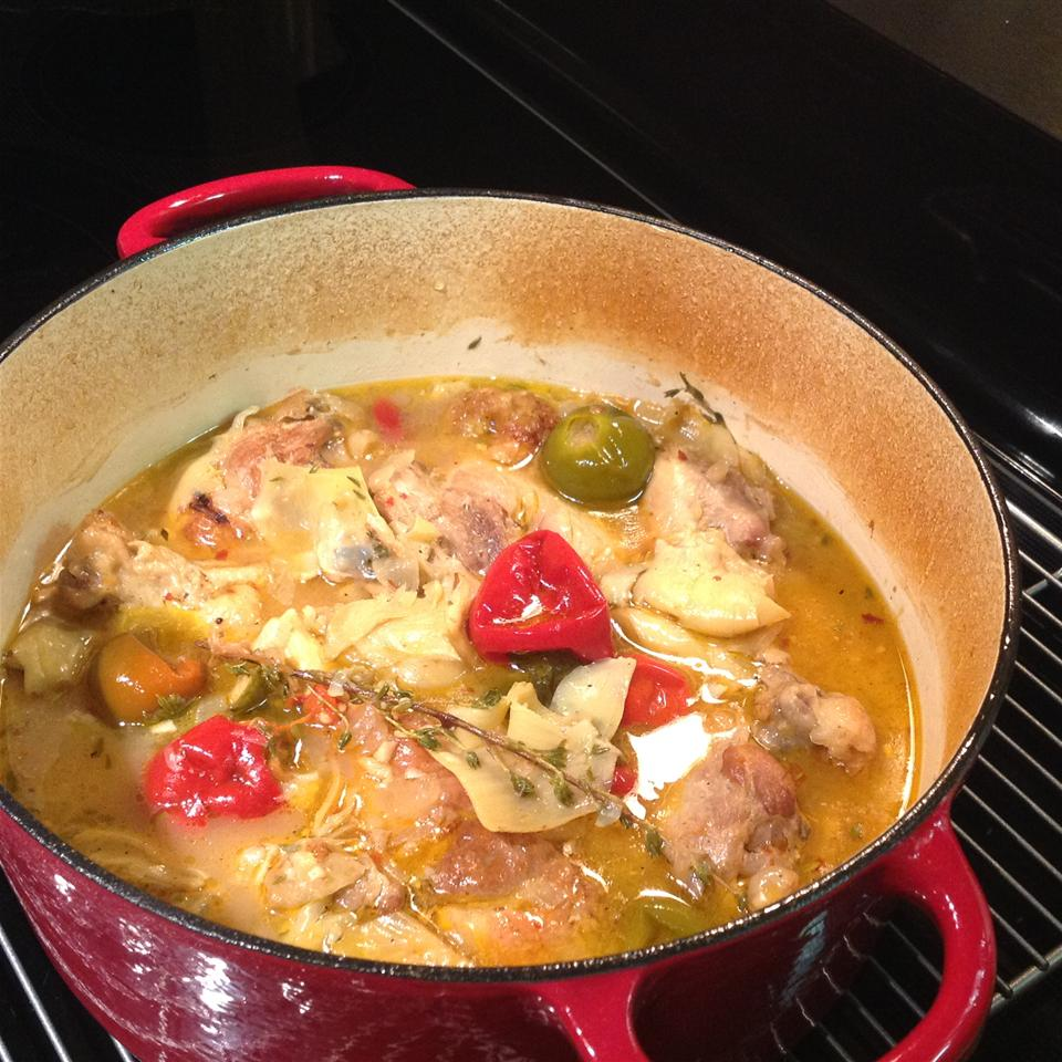 Braised Chicken and Artichoke Hearts with Lemon, Cherry Peppers and Thyme Lidia Bonanno