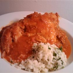 Chicken with Red Chile Sauce and Sausage (Pollo con Salsa Rojo y Chorizo)