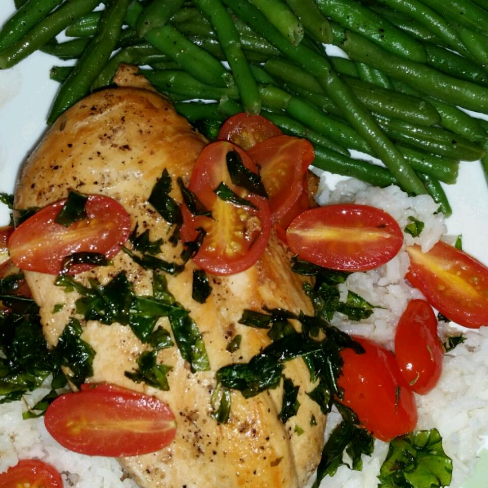 Chicken with Grape Tomatoes and Fried Basil MouseSlayer