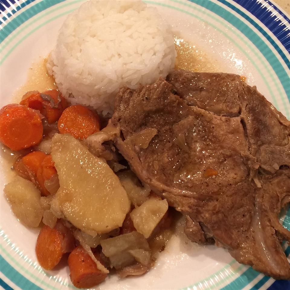 Pressure Cooker Bone-In Pork Chops, Baked Potatoes, and Carrots Joni Kishiyama