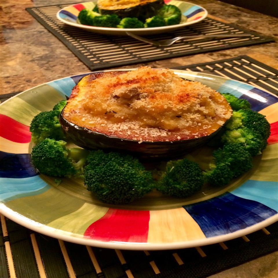 Acorn Squash Stuffed with Cheesy Mushroom Rice