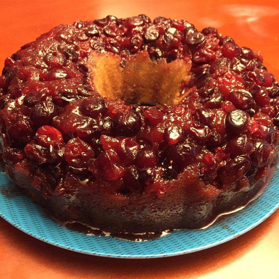 Cranberry Upside-Down Sour Cream Cake Cathy