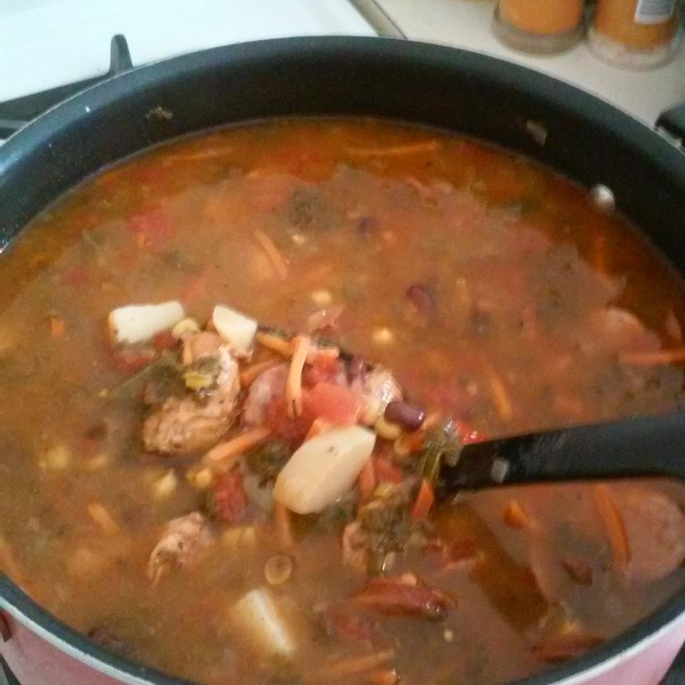 Smokey Sausage, Kale & Sweet Potato Soup Laura