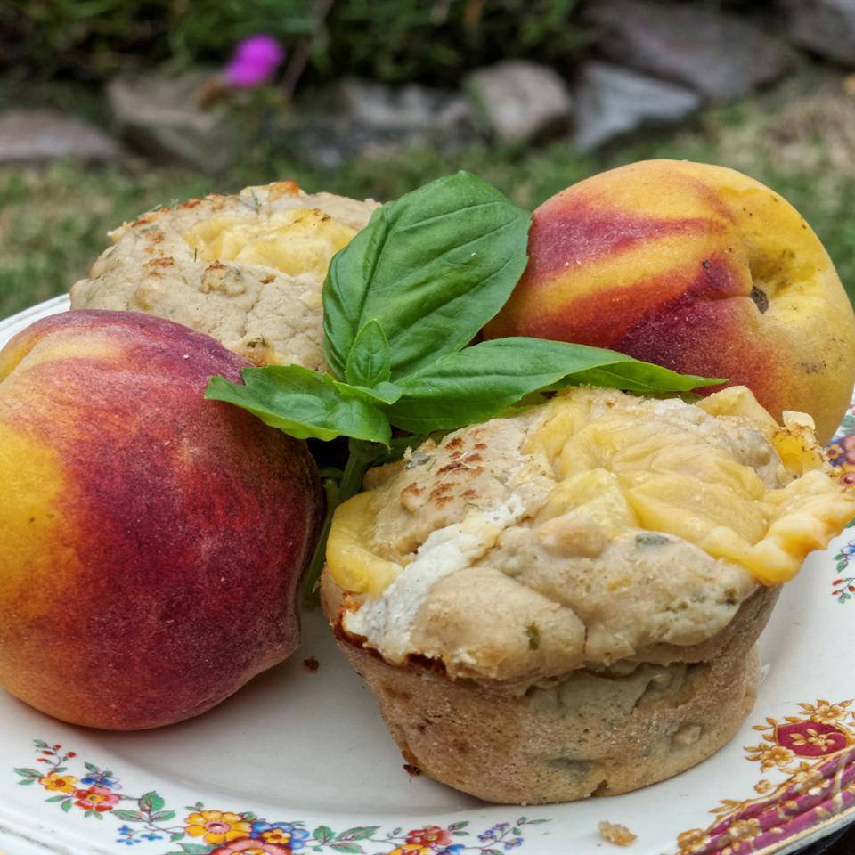 Summer Peach, Basil & Cheddar Muffins Jose Gros