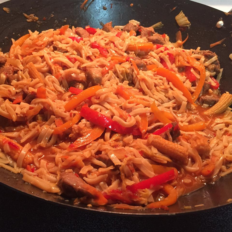 Sweet and Spicy Pork and Napa Cabbage Stir-Fry with Spicy Noodles PurpleBronto