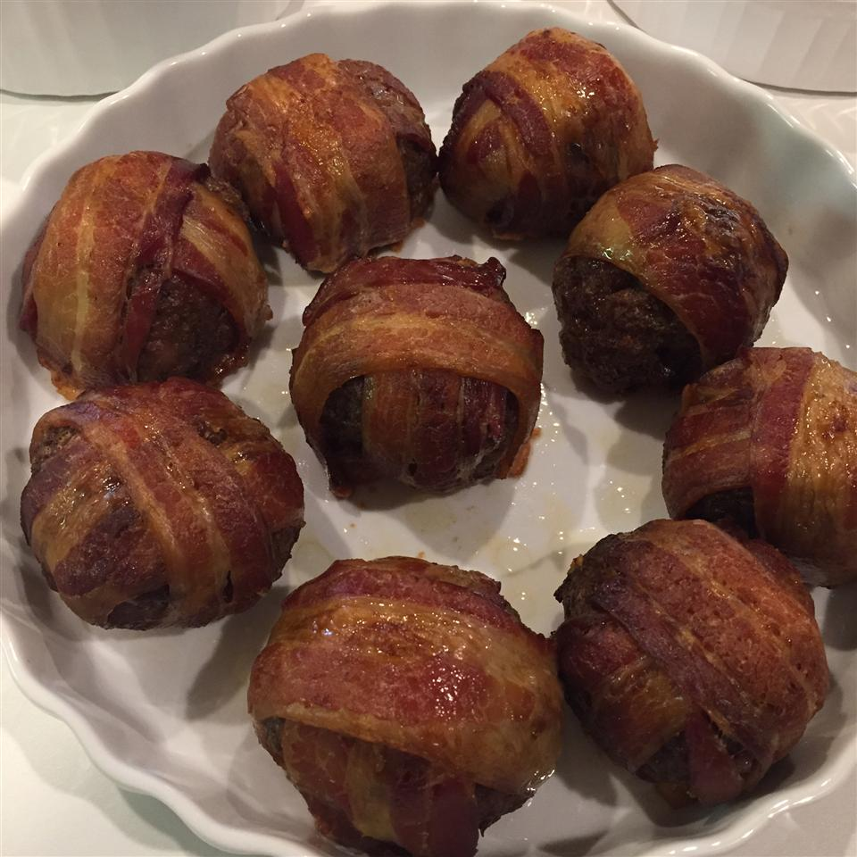 Giant Bacon-Wrapped Meatballs