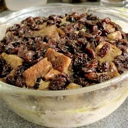 Microwave Raisin Bread Pudding siyn