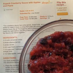 Superb Cranberry Sauce with Apples and Pears NE1canCook