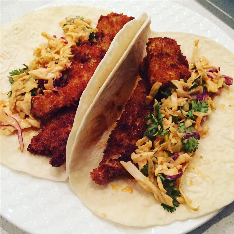 Fish Tacos with Honey-Cumin Cilantro Slaw and Chipotle Mayo gkooner