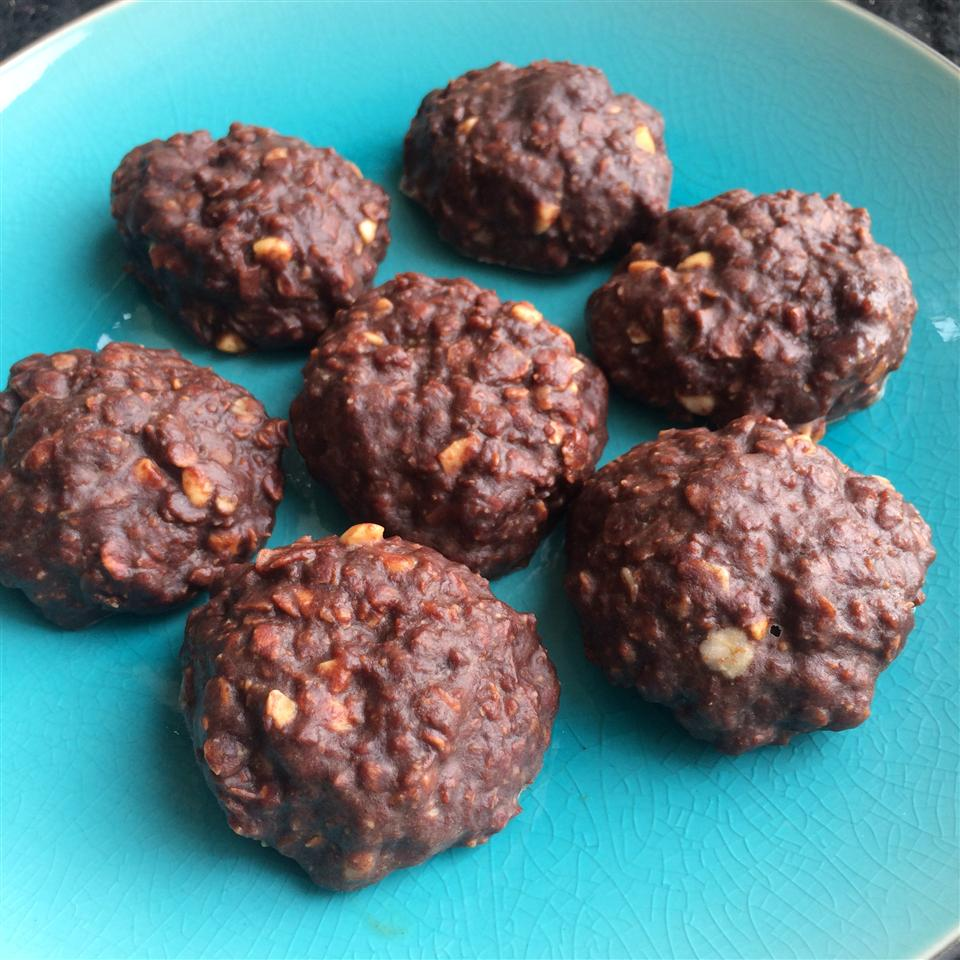 "No oven or processed sugars are required for these easy no-bake cookies. Recipe creator KESSIANNE says, ""Choosing to avoid processed sugars doesn't have to mean suppressing cravings! This recipe totally satisfies my peanut butter cup cravings, but leaves me feeling full instead of slightly sick."""