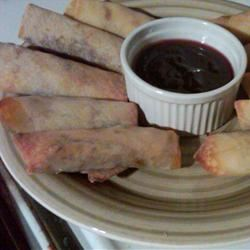 Leftover Turkey Spring Rolls with Cranberry Sweet and Sour Dipping Sauce