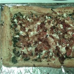 Puff Pastry Pizza with Spinach, Feta, and Caramelized Onion