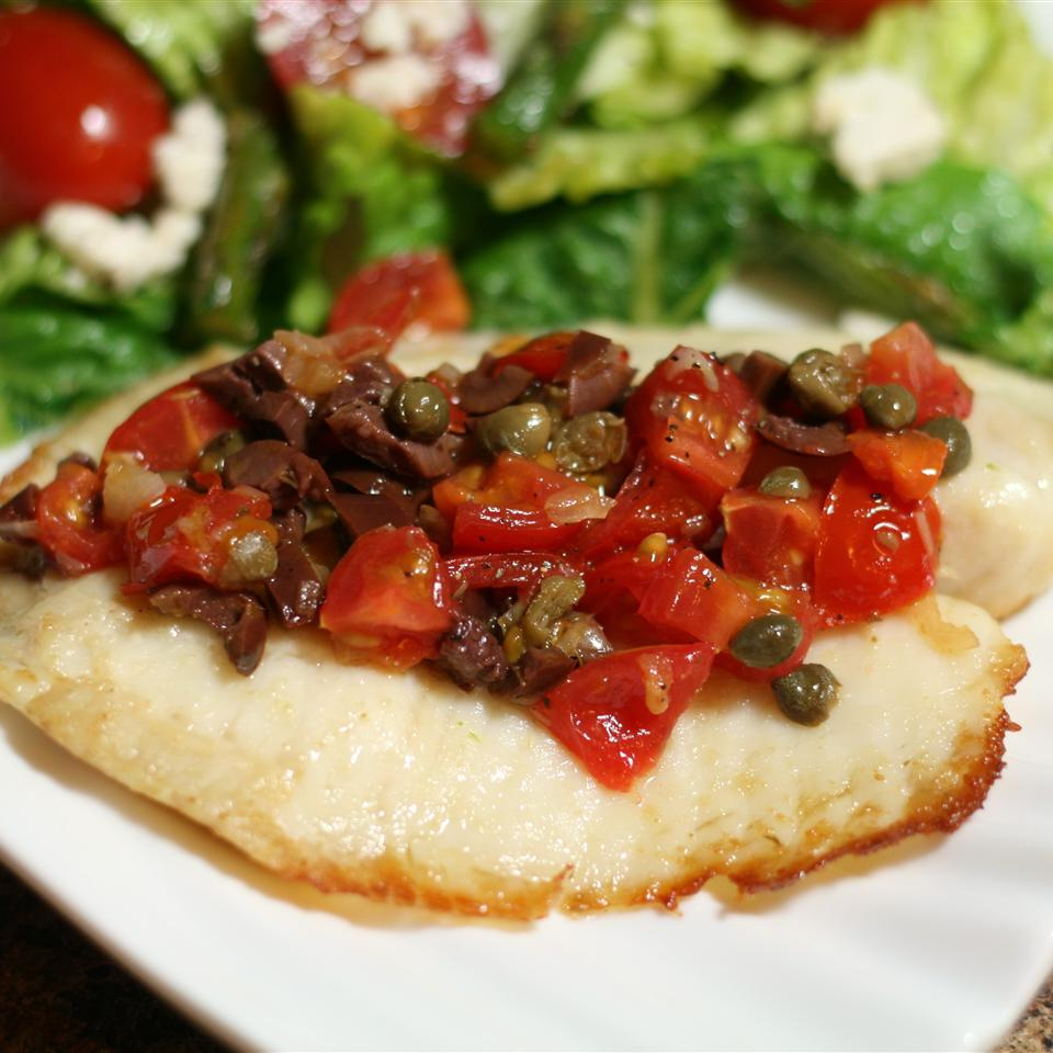 Grilled Tilapia with Tomato-Olive Tapenade