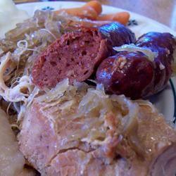 Pork Roast with Sauerkraut and Kielbasa homeschooler3