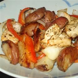 Broiled Chicken Breasts with Herbs, Carrots, and Red Potatoes Jenne
