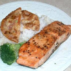 Salmon, Rice, and Fried Tomatoes cakesnthings