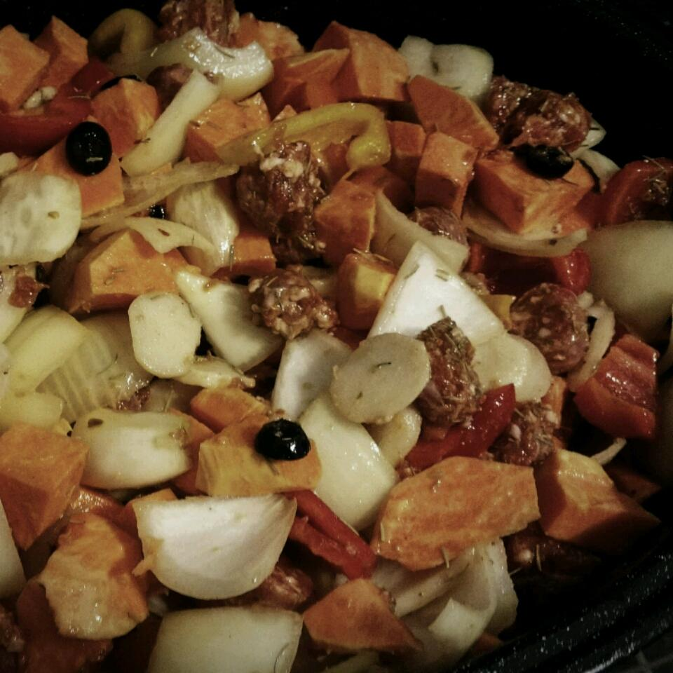Italian Sausages with Roasted Sweet Potatoes and Sweet Peppers Connie Hood