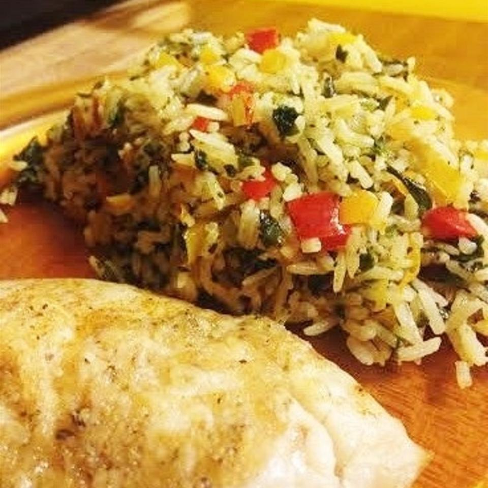 Sunny Pepper Parmesan Rice with Spinach JEANSB