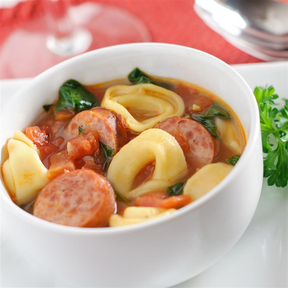 Smoked Sausage and Tortellini Soup