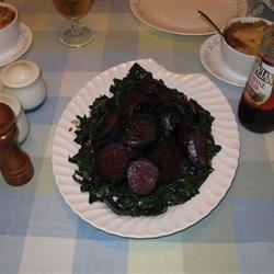 Roasted Beets and Sauteed Beet Greens Billscookn