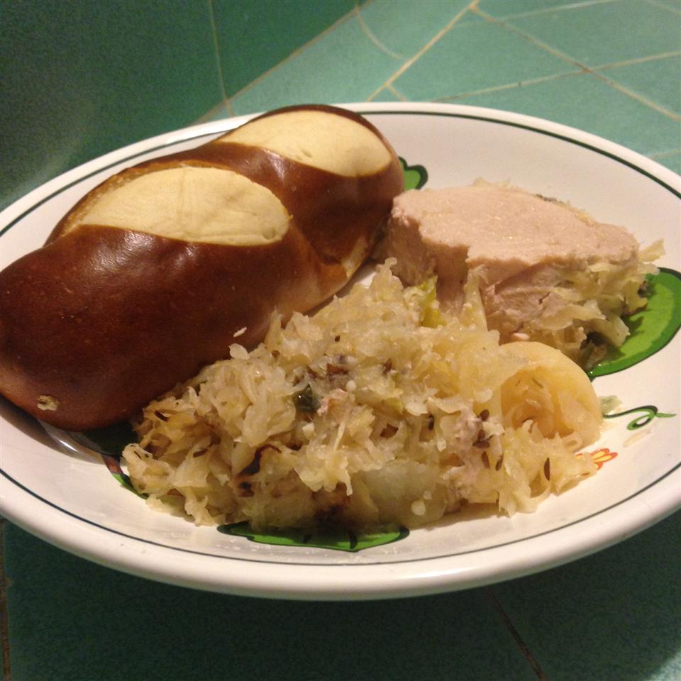 Slow Cooker German-Style Pork Roast with Sauerkraut and Potatoes Danielle Holt