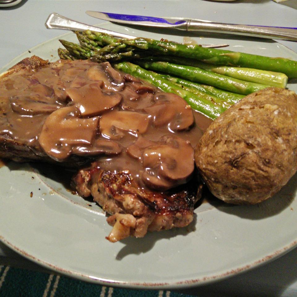 Flat Iron Steak with Mushroom Sauce