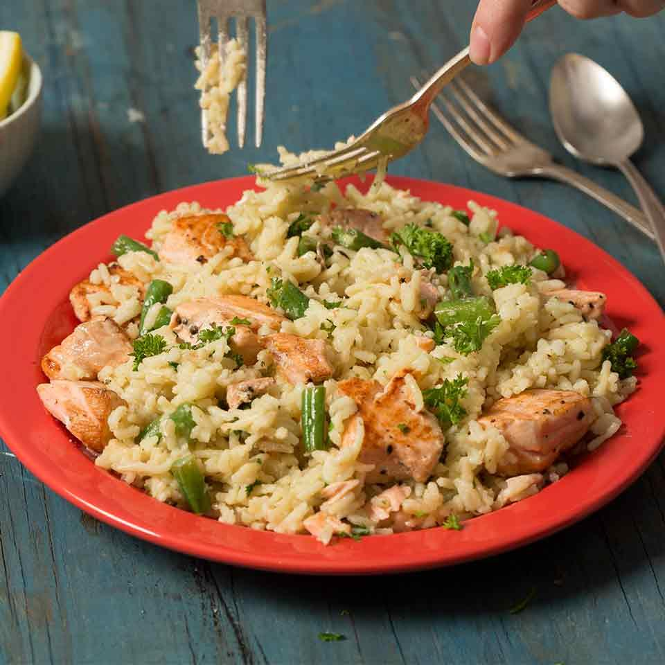 Salmon Scampi and Rice
