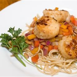 Pan-Seared Scallops with Pepper and Onions in Anchovy Oil Rodney Douglas