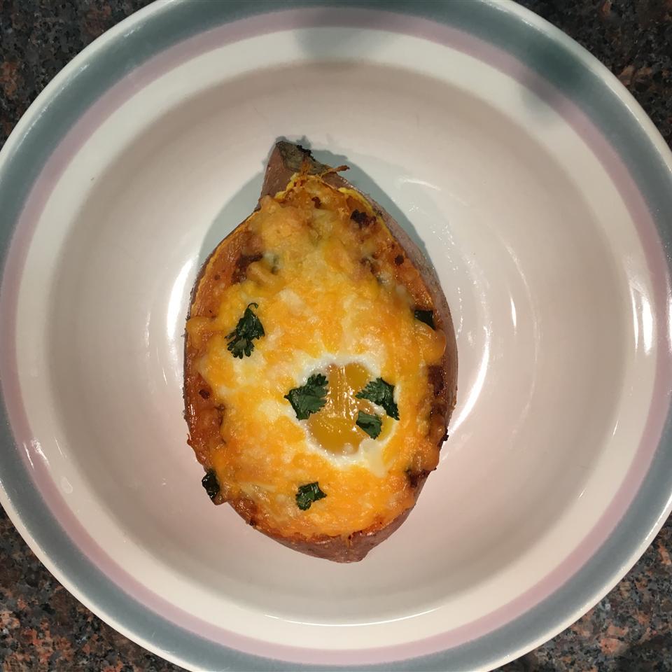 Cheesy Chorizo and Egg Sweet Potato Boats