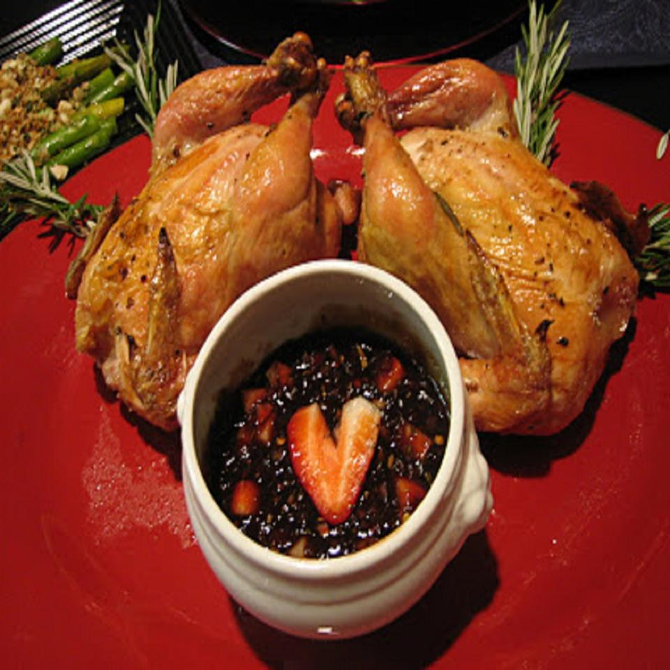 Cornish Hens with Strawberry-Balsamic Sauce