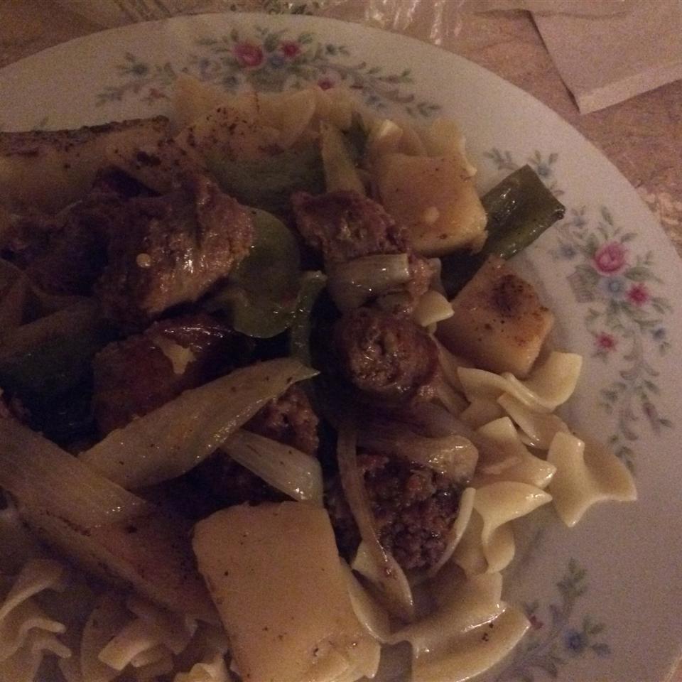 Sausage, Peppers, Onions, and Potato Bake Jeanene Vance-Card