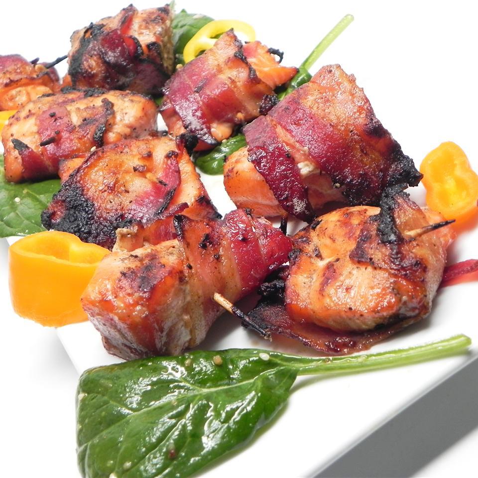 Bacon-Wrapped Bourbon-Marinated Salmon