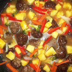 Sweet and Sour Meatballs (Suan T'ien Niu Jou Po Lo La Tzu)