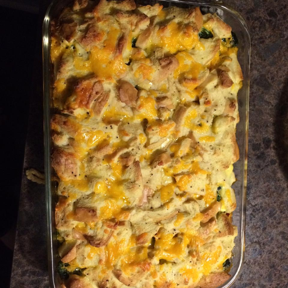 Bacon, Cheddar and Spinach Strata