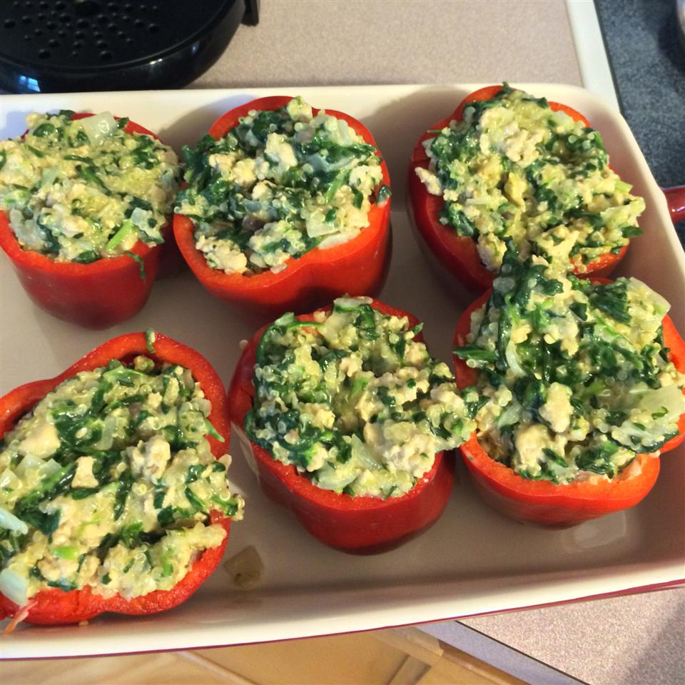 Chicken & Quinoa Stuffed Peppers Emily Elizabeth
