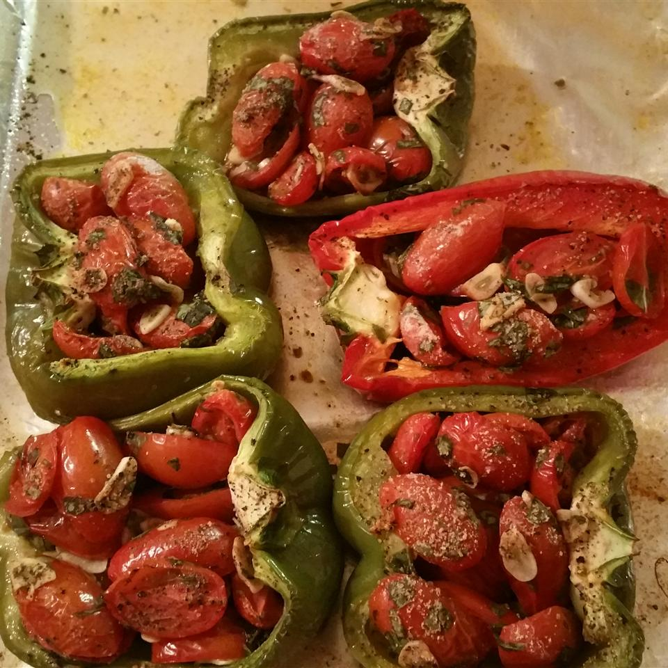 Peppers Roasted with Garlic, Basil and Tomatoes Sheryl Canaris